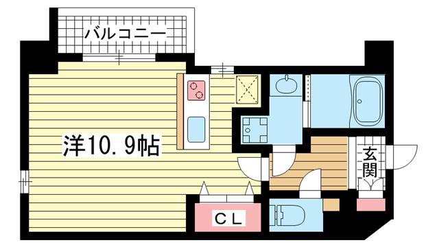 物件番号: 1025833971 アンビエンテ王子籠池  神戸市中央区籠池通1丁目 1R マンション 間取り図