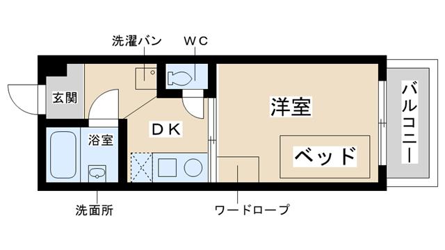 物件番号: 1025834111 パンブロスⅥ  神戸市灘区灘南通4丁目 1DK マンション 間取り図