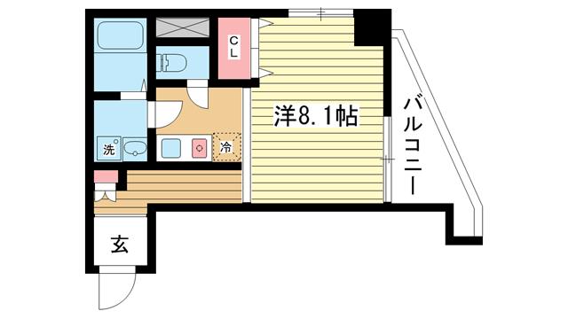 物件番号: 1025834138 Kitano Flats Plus  神戸市中央区山本通3丁目 1K マンション 間取り図