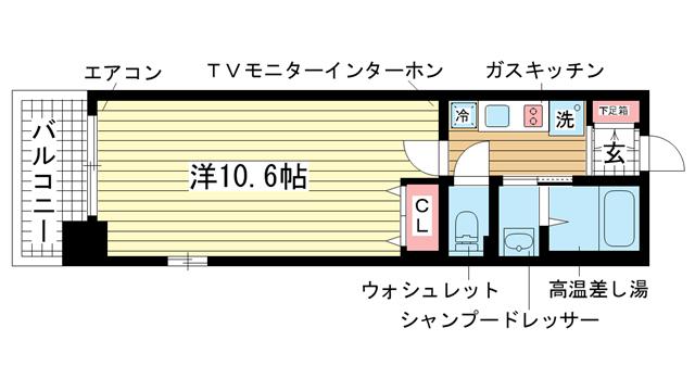 物件番号: 1025834184 レジディア三宮東  神戸市中央区磯上通3丁目 1K マンション 間取り図