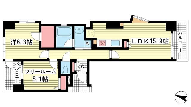 物件番号: 1025834199 ワコーレ中山手I.C.  神戸市中央区中山手通4丁目 2LDK マンション 間取り図
