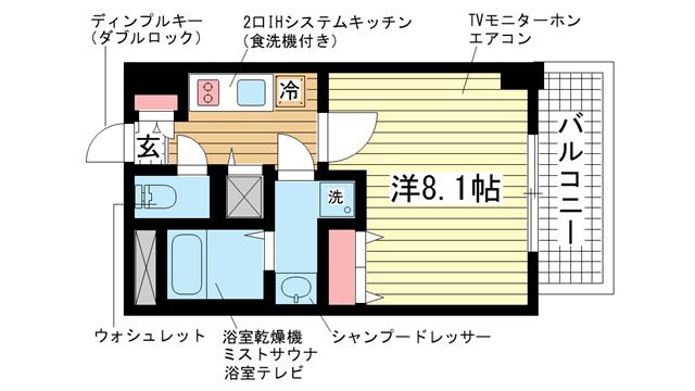 物件番号: 1025834208 アドバンス三宮Ⅱライズ  神戸市中央区八雲通6丁目 1K マンション 間取り図