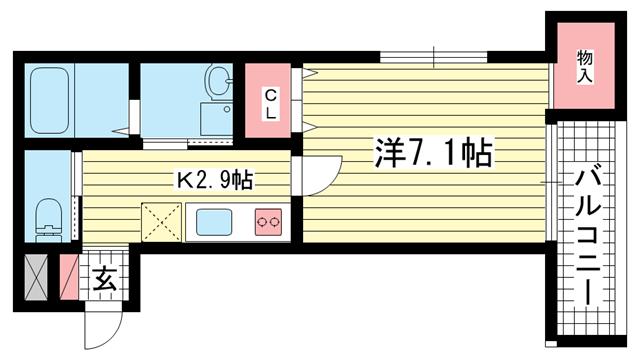 物件番号: 1025834247 ときわ六甲レクラン  神戸市灘区篠原北町3丁目 1K マンション 間取り図