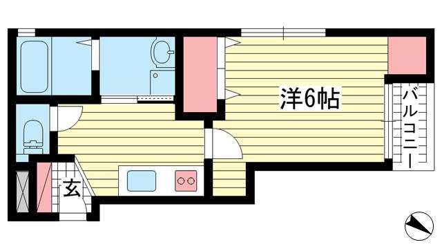 物件番号: 1025834255 ときわ六甲レクラン  神戸市灘区篠原北町3丁目 1K マンション 間取り図