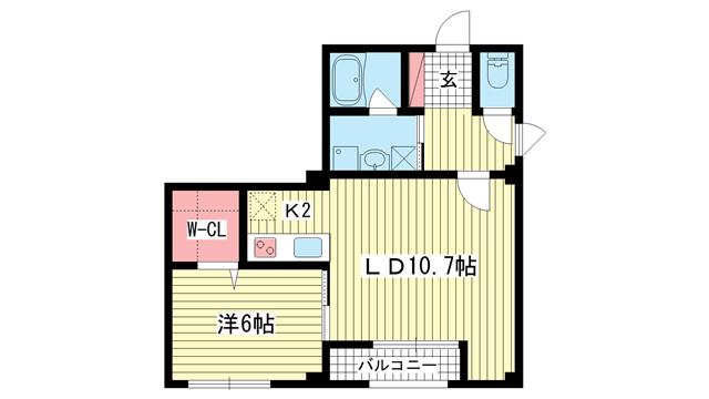 物件番号: 1025834277 サンビルダー黄能ハウス  神戸市中央区北野町2丁目 1LDK マンション 間取り図