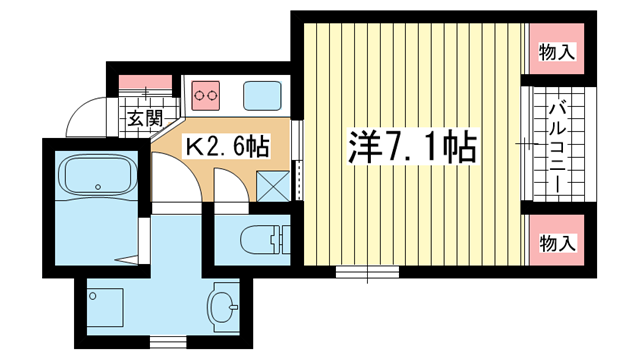 物件番号: 1025834352 ときわ六甲レクラン  神戸市灘区篠原北町3丁目 1K マンション 間取り図