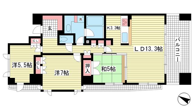 物件番号: 1025834424 アーバネックス三宮磯辺通  神戸市中央区磯辺通1丁目 3LDK マンション 間取り図