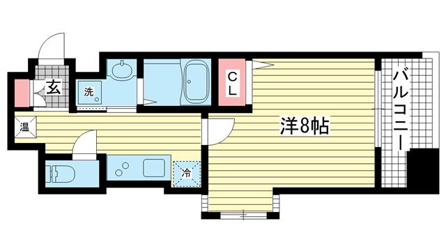 物件番号: 1025834728 エスティ・ロアール神戸駅前  神戸市中央区相生町4丁目 1K マンション 間取り図