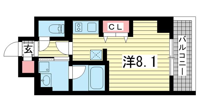 物件番号: 1025834812  神戸市中央区加納町2丁目 1R マンション 間取り図