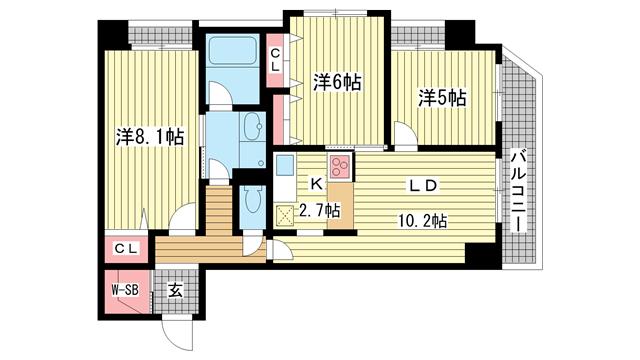 物件番号: 1025834847 アーバネックス元町通  神戸市中央区元町通6丁目 3LDK マンション 間取り図