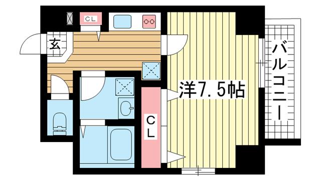 物件番号: 1025834907 WELLBEAR新神戸  神戸市中央区熊内町4丁目 1K マンション 間取り図