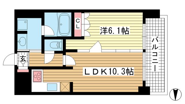 物件番号: 1025834911 リーガル神戸下山手  神戸市中央区下山手通3丁目 1LDK マンション 間取り図
