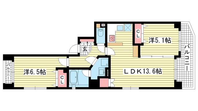 物件番号: 1025835013 PREDIO SEICOHⅡ  神戸市中央区中山手通2丁目 2LDK マンション 間取り図