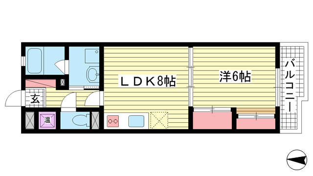 物件番号: 1025835036 ジュリアス中山手  神戸市中央区中山手通7丁目 1LDK マンション 間取り図