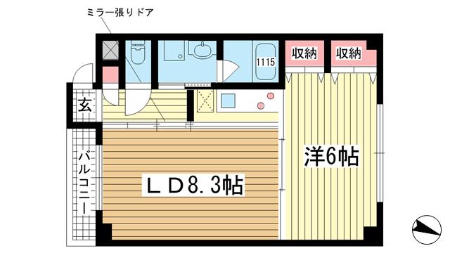 物件番号: 1025835042 G-BLOCK  神戸市中央区下山手通8丁目 1LDK マンション 間取り図