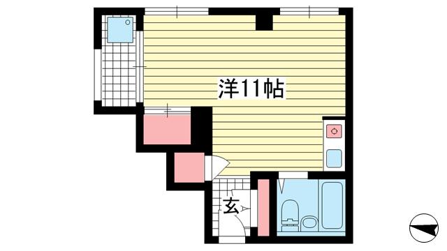 物件番号: 1025835094 花隈ローズハイツ  神戸市中央区花隈町 1R マンション 間取り図