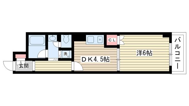 物件番号: 1025835097 フロリダハイツ  神戸市中央区熊内町4丁目 1DK マンション 間取り図