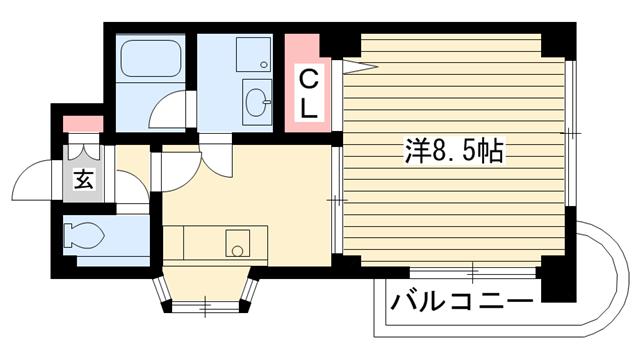 物件番号: 1025835179 ダイコーパレス  神戸市中央区脇浜町2丁目 1DK マンション 間取り図