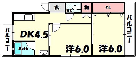 物件番号: 1025835232 熊内マンション  神戸市中央区熊内町5丁目 2DK マンション 間取り図