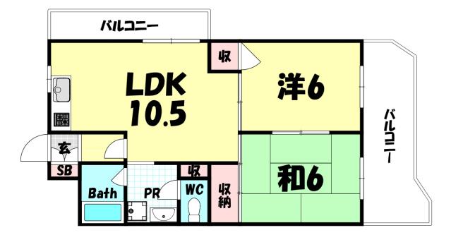 物件番号: 1025835308 メゾンエクレール元町  神戸市中央区北長狭通5丁目 2LDK マンション 間取り図