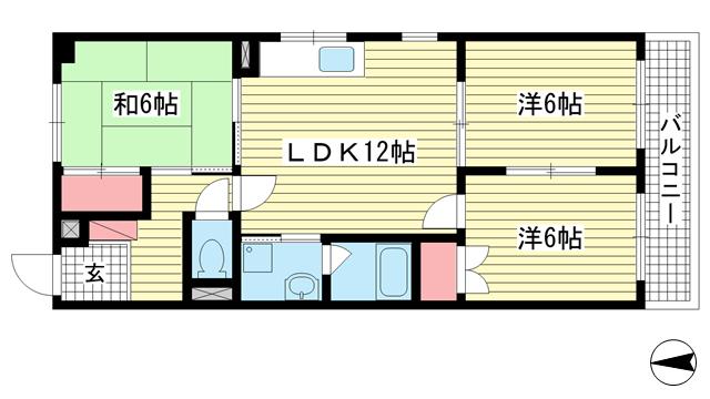 物件番号: 1025835423 古家マンション  神戸市中央区山本通1丁目 3LDK マンション 間取り図