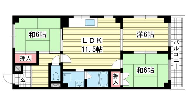 物件番号: 1025835425 古家マンション  神戸市中央区山本通1丁目 3LDK マンション 間取り図