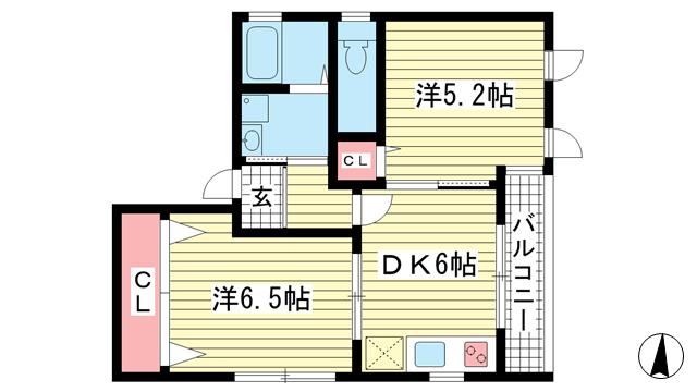 物件番号: 1025835472 レーブ八雲  神戸市中央区八雲通5丁目 2DK マンション 間取り図