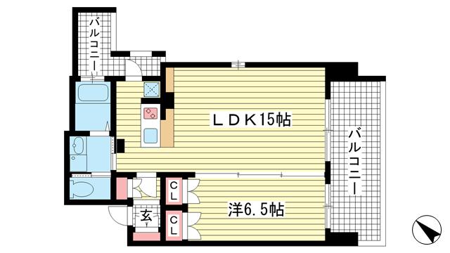 物件番号: 1025835524 アルファレガロ神戸ウエスト  神戸市兵庫区塚本通3丁目 1LDK マンション 間取り図