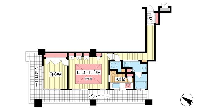 物件番号: 1025835573 トア山手 ザ・神戸タワー  神戸市中央区中山手通3丁目 1LDK マンション 間取り図