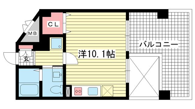 物件番号: 1025835678 アルファレガロ上沢  神戸市兵庫区中道通9丁目 1K マンション 間取り図