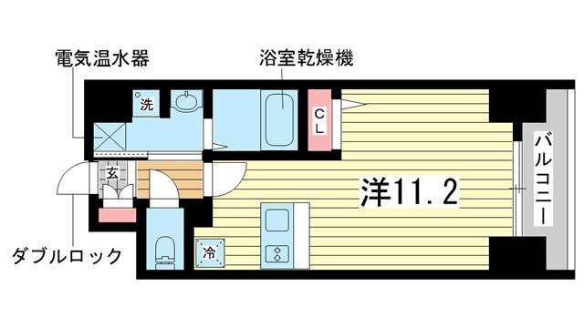 物件番号: 1025835721 レオンコンフォート神戸西  神戸市兵庫区大開通2丁目 1R マンション 間取り図