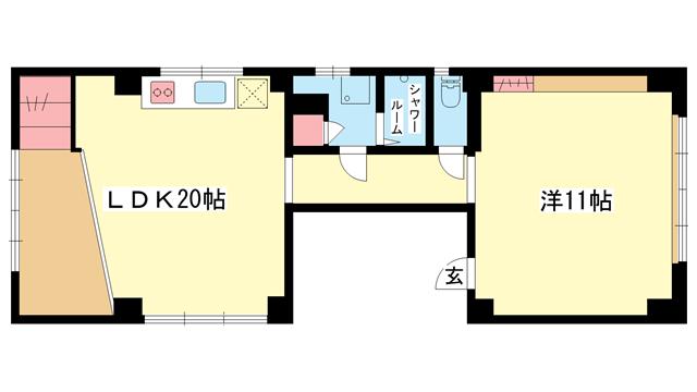 物件番号: 1025835830 新神戸フラッツ  神戸市中央区坂口通6丁目 1LDK マンション 間取り図