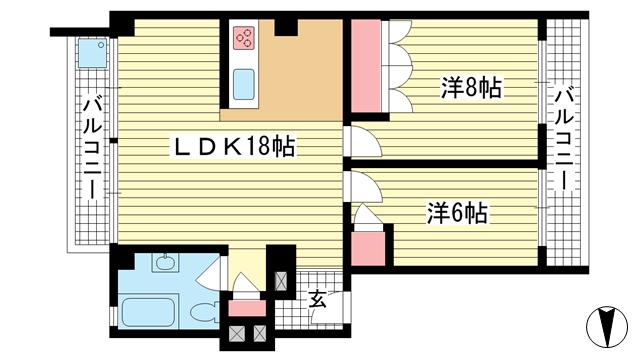 物件番号: 1025835995 ニュー神戸マンション  神戸市中央区山本通4丁目 2LDK マンション 間取り図