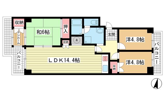 物件番号: 1025836394 エバーグリーンポートアイランド1号棟  神戸市中央区港島中町3丁目 3LDK マンション 間取り図