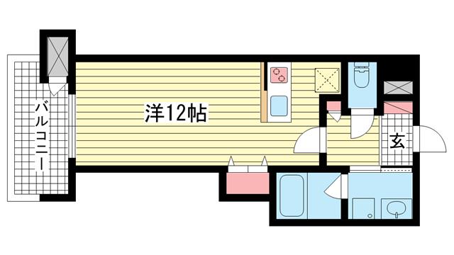 物件番号: 1025836526 プレジール三宮Ⅲ  神戸市中央区琴ノ緒町1丁目 1R マンション 間取り図