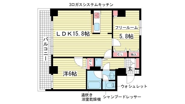 物件番号: 1025836595 プレサンス神戸三宮  神戸市中央区雲井通4丁目 1SLDK マンション 間取り図
