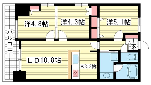 物件番号: 1025836703 レジディア三宮東  神戸市中央区磯上通3丁目 3LDK マンション 間取り図