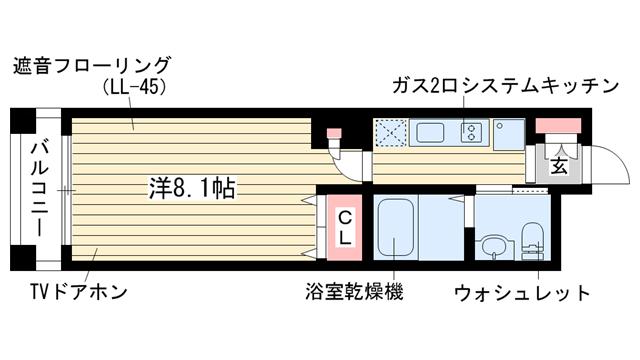 物件番号: 1025836802 トルチェ元町山手  神戸市中央区下山手通4丁目 1R マンション 間取り図
