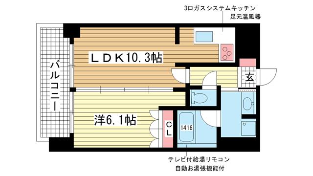 物件番号: 1025836867 リーガル神戸下山手  神戸市中央区下山手通3丁目 1LDK マンション 間取り図