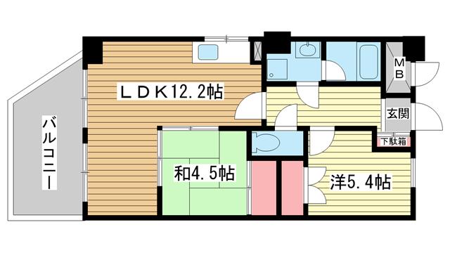 物件番号: 1025837031 メゾンフローラ  神戸市中央区花隈町 2LDK マンション 間取り図