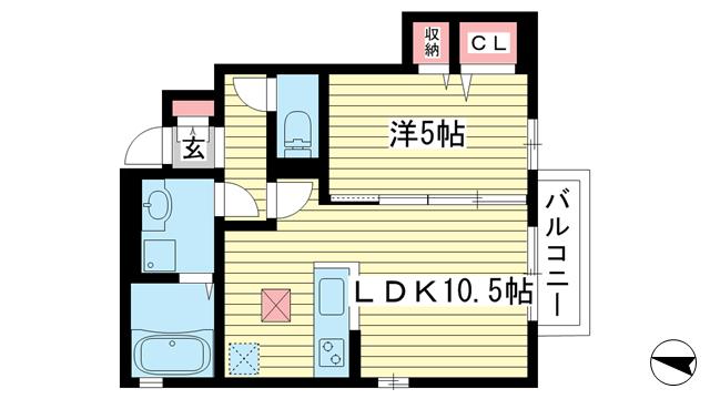 物件番号: 1025837086 サニーレジデンス  神戸市灘区上野通7丁目 1LDK ハイツ 間取り図