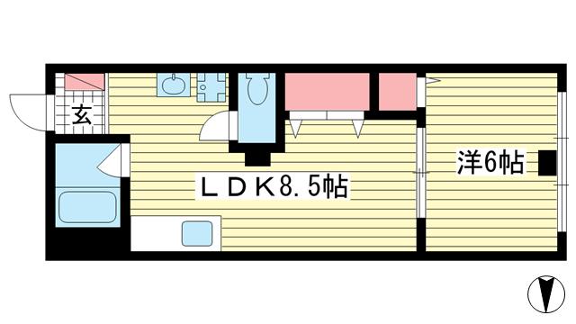 物件番号: 1025837178 神戸山下ビル  神戸市中央区中山手通1丁目 1LDK マンション 間取り図