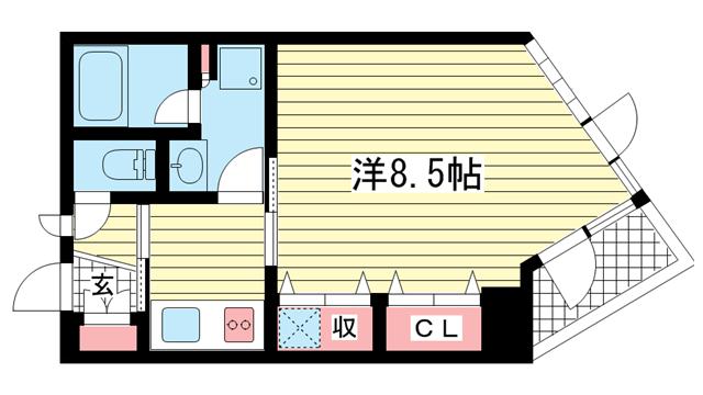 物件番号: 1025837191 アンリーヴ北野  神戸市中央区山本通2丁目 1DK マンション 間取り図