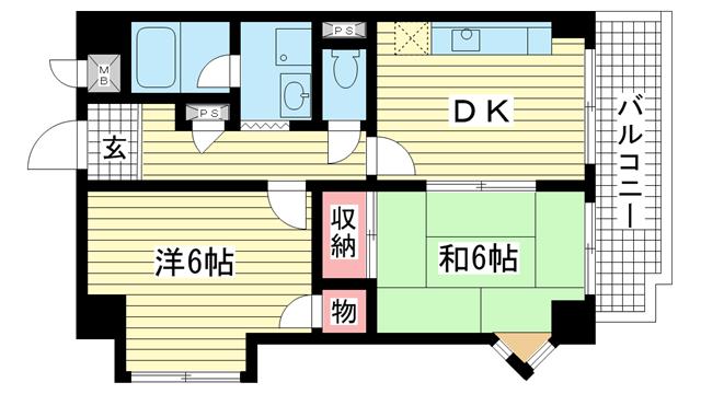 物件番号: 1025837324 サンライズ壱番館  神戸市中央区生田町1丁目 2DK マンション 間取り図