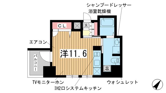 物件番号: 1025837525 アドバンス三宮Ⅳルシール  神戸市中央区御幸通3丁目 1R マンション 間取り図