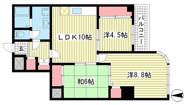 物件番号: 1025837607 ワコーレアルテ中山手  神戸市中央区中山手通3丁目 3LDK マンション 間取り図