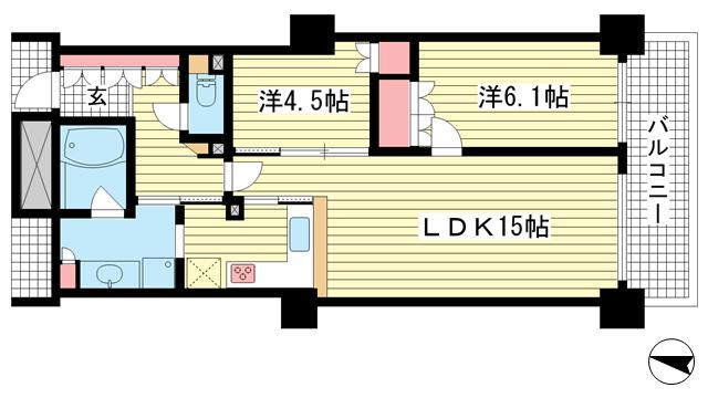 物件番号: 1025837636 ワコーレ神戸灘タワー  神戸市灘区灘北通10丁目 2LDK マンション 間取り図