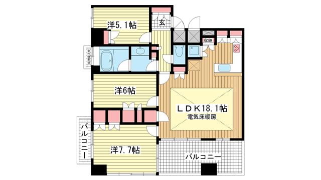 物件番号: 1025837639 ライオンズマンション神戸栄町通  神戸市中央区栄町通2丁目 3LDK マンション 間取り図