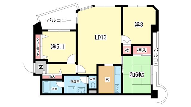 物件番号: 1025837763 ワコーレアルテ中山手  神戸市中央区中山手通3丁目 3LDK マンション 間取り図