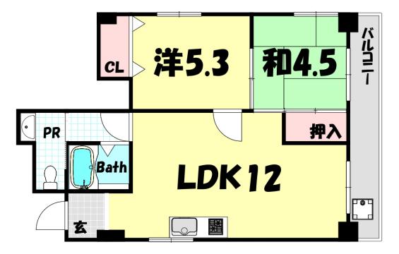 物件番号: 1025837795 サンビルダー三宮東  神戸市中央区国香通6丁目 2LDK マンション 間取り図